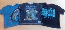 3 x Boys Blue Graphic Short Sleeve T Shirts Age 4 - 5 Monsters University Shark