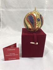 Cloisonne Paisley Floral Ball Christmas Ornament Velvet Box Dillard's Trimmings