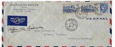 1939 Paris France Airmail Lisbon Richmond VA U.S. Foreign Service 2.25F Pair 5F
