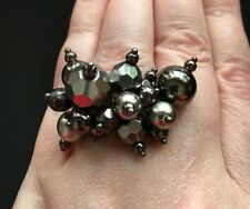 Cookie Lee Stretch Ring Beads Cluster Ring in Pewter Color