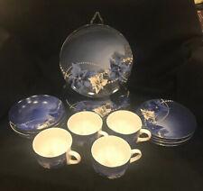 Christmas Dishes 16 Pc Beautiful Blue Holiday Set Dinnerware