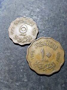 2 Coin Lot. Egypt Kingdom 5 + 10 Milliemes Coins 1938 (1357) King Farouk #754