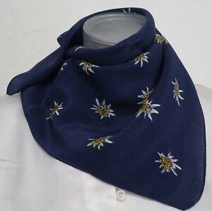 ♥TRACHTENMODE♥ Edelweiß Trachtentuch Seidentuch Nickituch Halstuch blau Tuch