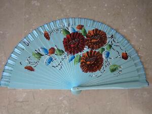 Spain Flamenco Handfächer Pocket Fan Folding Fan Wooden D H Blue