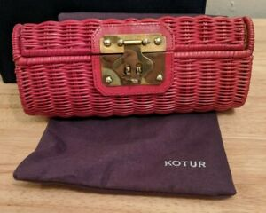 Vintage Kotur Red Straw Clutch Purse With Dust Bag