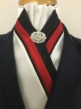 HHD Black, Red & White Satin Dressage Pre-tied Show Stock Tie with Black Piping
