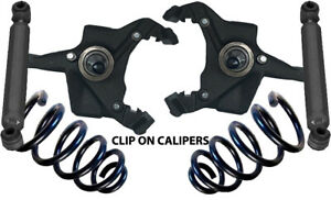 """1973-1991 Chevy C30 Drop Spindles 3"""" for Clip On Calipers, 2"""" Coils & Shocks"""