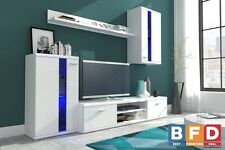 Modern White Living room Furniture Set Tv Stand Wall Mounted Cabinet Cupboard