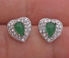 18K White Gold Filled Topaz Ear Stud Emerald Peach Heart Teardrop Earrings UN