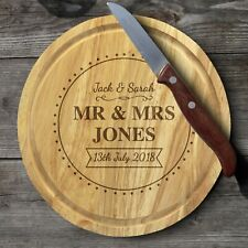 Personalised Mr & Mrs Wedding Gift Names Wooden CHEESE-BOARD with Cheese Knives