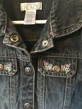The CHILDREN'S PLACE Lined Jean Denim Spring Jacket Snaps Dark Wash Toddler 6-9M