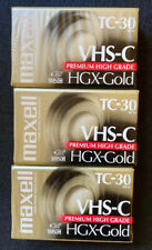3 Maxell Vhs-C Tc-30 Hgx-Gold Premium High Grade Camcorder Video Tape Cassettes