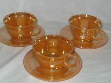Fire King Laurel Leaf Peach Luster 3 Tea Cups & 3 Saucers - Great Con