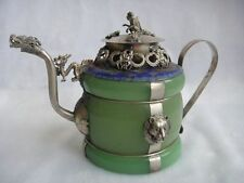 Chinese handwork old green jade bracelet inlay tibet-silver dragon teapot