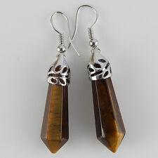 1 Pair Amethyst Crystal Gemstone Hexagonal Healing Silver Plated Stud Earrings
