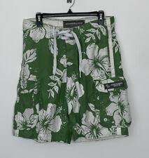 Abercrombie And Fitch Men Swim trunks Bathing Suit Green Shorts Floral Pocket 34