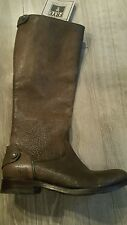 FRYE Melissa Button Back Zip Grey / Brown Leather Riding Boots  Size 6