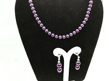 "Purple Pearl Bead Necklace Earrings 16"" to 19"" Jewelry Gift Set US"
