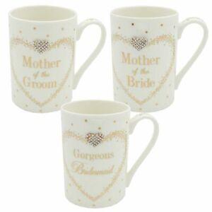 Mad Dots Wedding Mug & Diamante Heart Mother of the Bride/Groom Bridesmaid Gift