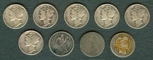 9 pcs 1891 1877 1915 1943 1944 1945 US United States Dime 10 Cents  Silver Coin