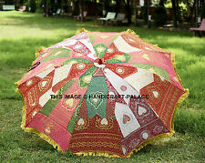 "80"" Indian Large Garden Umbrella Embroidered Silk Patio Outdoor Sun Parasol Art"