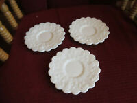 "VINTAGE WESTMORELAND GRAPE DESIGN MILK GLASS 5 3/4"" SAUCER  LOT OF 3."