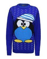Ladies Women Knitted Long Sleeve Cute Penguin Christmas Xmas Jumper Top Sweater