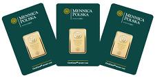 GOLD BAR 3 x 100 GRAM MINT OF POLAND MENNICA POLSKA