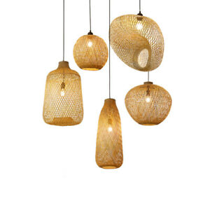 Bamboo Wicker Rattan Pendant Light Vintage Hanging Chandelier Lamp Fixtures