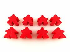 Carcassonne Replacement / Expansion Wooden Follower Meeple Token Set 8pc Red