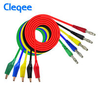 5PCS Alligator Test Hook Lead Clip to 4mm Banana Plug Probe Cable 3ft 5 Colors