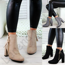 New Womens Ladies Ankle Boots High Block Heel Zip Comfy Casual Shoes Sizes 3-8