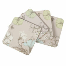 Set of 4 Square Cork Coasters Drinks Mats Grey Vintage Bee Floral Shabby Chic