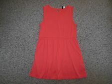 H&M Womans 10 Coral Salmon Pink Poly Tunic Higher Neck Beach Short Sun Dress