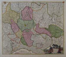 Original 1720 Homann Map LOMBARDY Italy Milan Genoa Verona Cremona Lago Maggiore