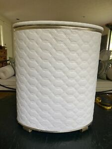 Vintage MID CENTURY White Quilted Padded Vinyl Clothes Laundry Basket Hamper