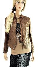 MARCCAIN Damen Jacke N3 38 M braun Baumwolle beschichtet Wash Out Effekt