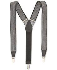 $85 CLUB ROOM Men's WHITE BLACK DIAMOND ELASTIC STRETCH METAL CLIP-ON SUSPENDERS