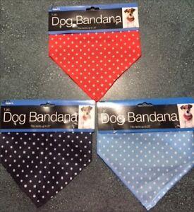 "Polka Dot Dog Bandana with Snap Closure - Collar - Red, Blue, Black - Up to 22"""