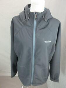 Columbia Size XL Womens Black Faux Fur Breathable Hooded Windbreaker Jacket T719