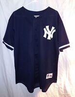 VTG New York Yankees Majestic Diamond Collection Mens Jersey Size XL Blue Mesh