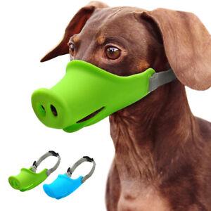 No Bite Dog Muzzle Adjustable Small Medium Soft Silicone Mouth Basket Protection