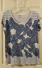OLD NAVY WOMEN'S BLUE & WHITE PAISLEY TOP ~ SIZE M