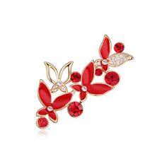 18K ROSE GOLD PLATED GENUINE CUBIC ZIRCONIA & RUBY RED ENAMEL BUTTERFLY BROOCH