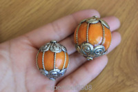 BD129 Handmade Nepal Big Round Copper Resin Amber Beads Tibetan Bead Charm 2 PCS