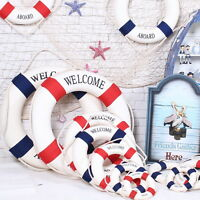 Welcome Aboard Nautical Life Lifebuoy Ring Boat Wall Hanging Home Decoration US