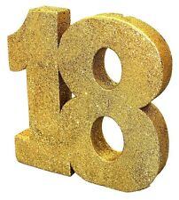8' Gold Glitter 18th Birthday Table Decoration - Party Age Black Happy Bday