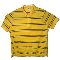 Lacoste Mens 6 Yellow Striped Short Sleeve Polo Rugby Casual Dress Collar Shirt