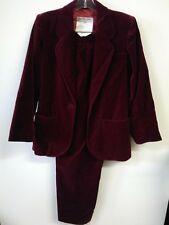 Womens Saint Laurent Burgundy  Single Velvet Jacket & Pant Suit Size 36 pant 38
