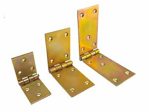 Strong Heavy Duty Strap Hinge Hinges Zinc Tee Door Gate GOLD Yellow Shed